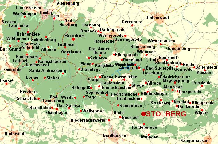 Deutschland Harz Karte Vom Harz Landkarte Harz Stadtplan Und